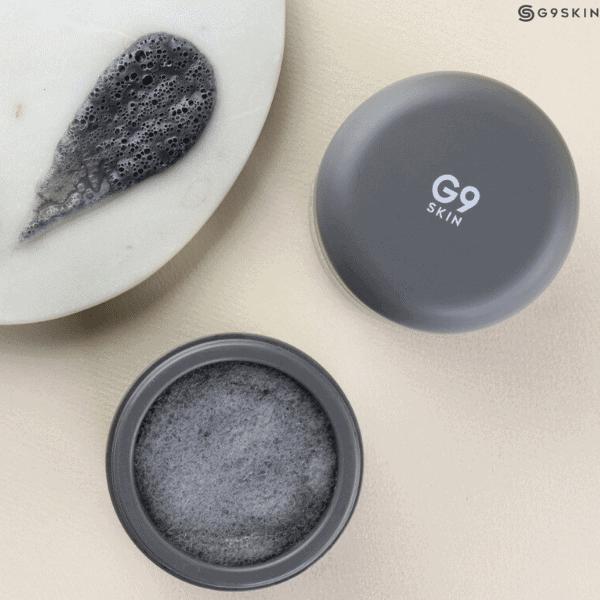 G9Skin Color Clay Carbonated Bubble Pack on beige background